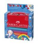 Maletín metálico 18 lápices de colores jumbo grip. FABER-CASTELL