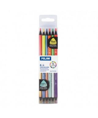 Estuche 6 lápices bicolor fluor-metal. MILAN