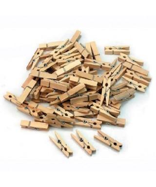 Bolsa con 30 pinzas de madera pequeñas