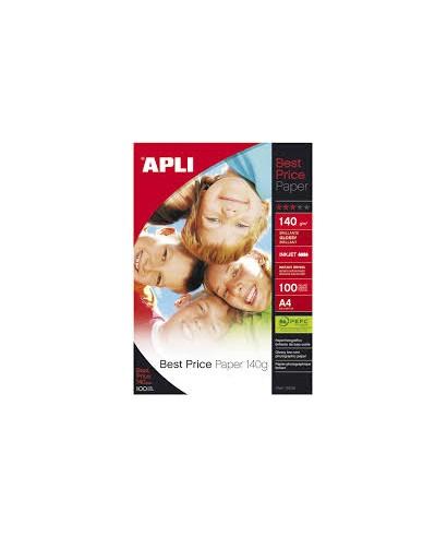 Pack de 100 hojas de papel fotográfico de 140 gramos de la marca Apli