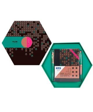 Caja regalo hexagonal Copper verde. MILAN