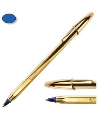 Bolígrafo civ cristal azul cuerpo oro