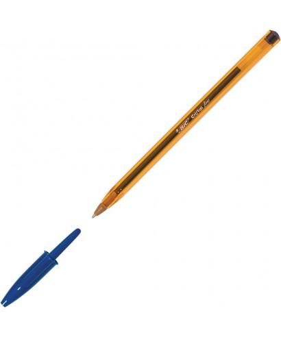 Clásico bolígrafo de bic con punta fina en azul