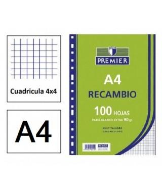 Recambio 100h A4 4a cuadriculado 4x4
