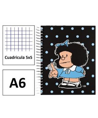 Cuaderno A6 forrado Mafalda Lunares