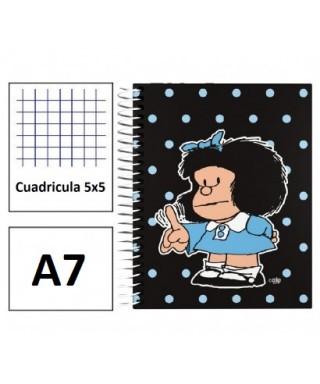Cuaderno A7 forrado Mafalda Lunares