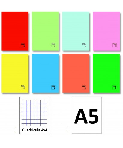 Libreta 50h 4º cuadriculada 4x4 cartulin