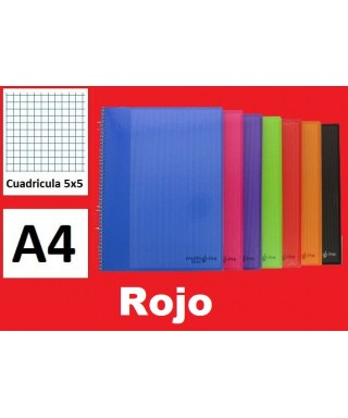 Cuaderno rojo multiline A4 microperforado- GRAFOPLAS - 88525051
