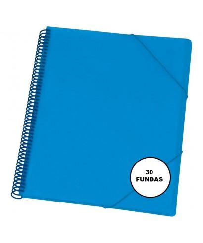 Carpeta maxiplas fundas 30 fundas azul. DEQUA