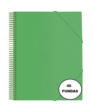 CARPETA DE 40 FUNDAS CON ESPIRAL VERDE