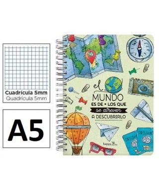 libreta A5 con frase en la portada