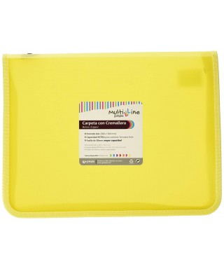 Carpeta cremallera fuelle amarillo. GRAFOPLAS