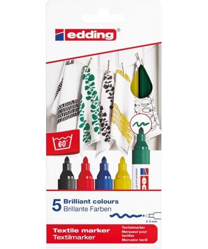 Pack 5 rotuladores edding textil básicos