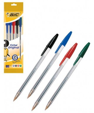 Bolsa 5 bolígrafos bic cristal