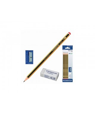 Set 3 lápices HB nº2 + goma + sacapuntas