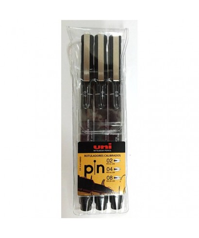 Pack 3 rotuladores calibrados 02,04 y 08. UNI-BALL