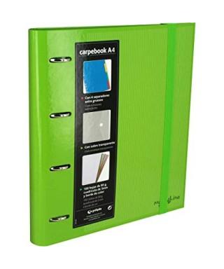 Carpebook 4 anillas 35mm verde GRAFOPLAS