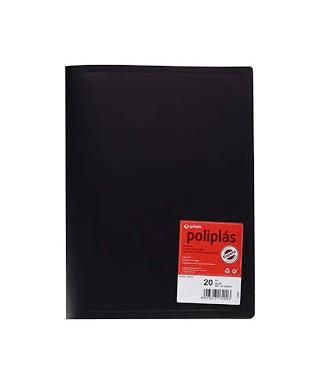 carpeta con 20 fundas color negro