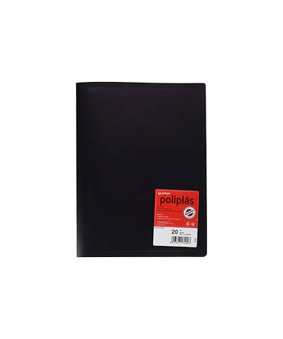 carpeta con 20 fundas color negro