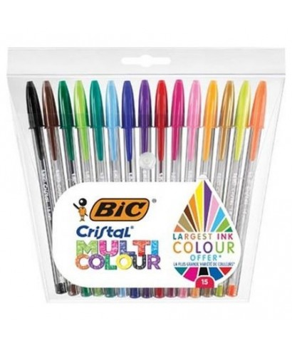 B/15 Bolígrafos Bic cristal multicolor