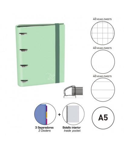 Carpebook A5 verde menta pastel
