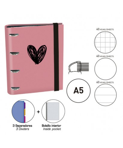 Carpebook A5 Heart rosa