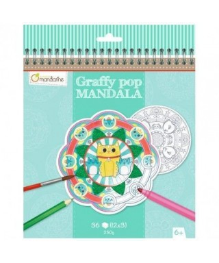 Graffy pop mandala animales Mandarine