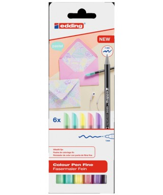 Pack 6 rotuladores edding 1200 pastel