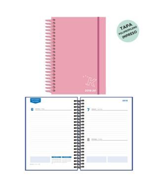 Agenda escolar 19/20 D/P pastel rosa