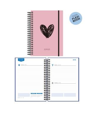 Agenda escolar 19/20 D/P Heart rosa