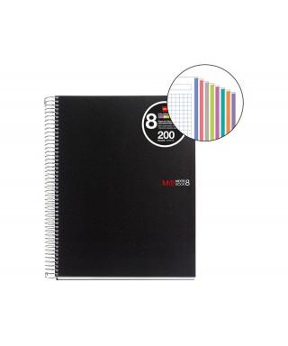 Cuaderno A4 200 hojas tapa PP negro