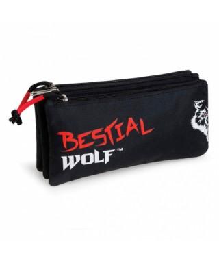 Estuche escolar triple Bestial Wolf