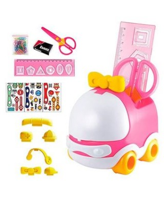 Set escolar coche rosa DOHE