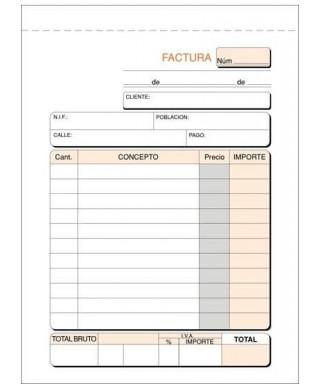 Talonario factura 8- natural sin copia