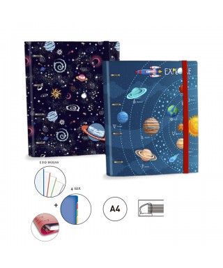 RINGBOOK A4 4A 30MM UNIVERSO AZUL SENFORT
