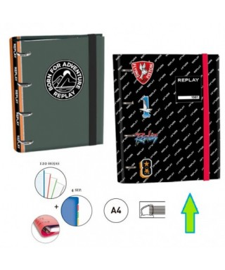 RINGBOOK A4 4A 30MM REPLAY NEGRO
