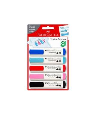 Blister 5 marcadores para textiles baby
