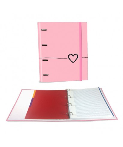 Ringbook A4 120h Heart rosa