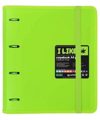 Carpebook 4 anillas like verde- GRAFOPLAS
