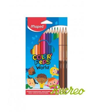 Caja 2 lápices de colores + 3 duo tonos de piel. Maped