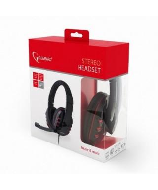 Auriculares estéreo con micrófono y control de volumen negro - GHS-40