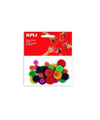 Bolsa botones madera colores - APLI - 13481