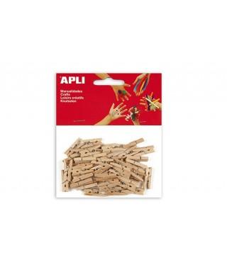 Bolsa minipinzas madera natural - APLI - 13478