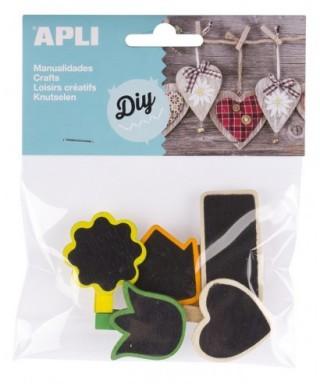 Bolsa minipinzas madera pizarra - APLI - 14783