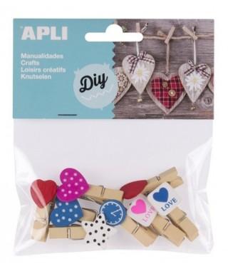 Bolsa minipinzas madera pizarra formas - APLI - 14784