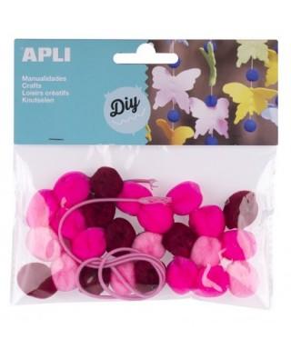 Bolsa pom pones rosas collares – APLI - 14788