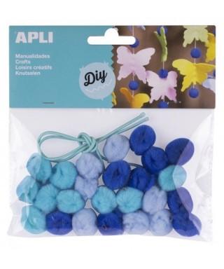 Bolsa pom pones azules collares – APLI - 14796