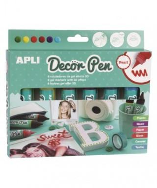 Caja rotuladores gel 3D colores surtidos perlado– APLI - 14966