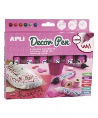 Caja rotuladores gel 3D colores surtidos purpurina – APLI - 14968