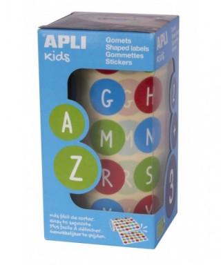 Rollo gomets redondos removibles ABC 020 mm multicolor – APLI - 15126